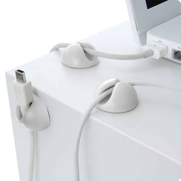 CableDrop: Holds power and data cables in place (White)